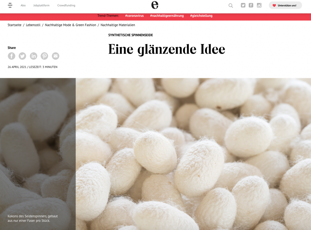 Enorm Magazin Synthetische Spinnenseide - Text Lesley Sevriens
